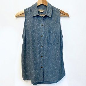 OBEY SLEEVELESS BUTTON-UP TOP